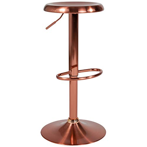 Flash Furniture Madrid Series Adjustable Height Retro Barstool in Rose Gold ()