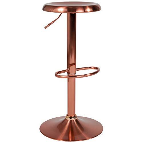 Flash Furniture Madrid Series Adjustable Height Retro Barstool in Rose Gold Finish