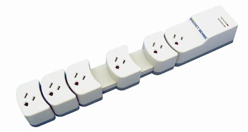 Socket Sense SS165OW-12 Expanding 6 Outlet Surge Protector with 12-Feet Power Cord