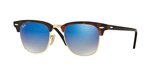 Ray-Ban RB3016 Clubmaster Flash Gradient Series Unisex Sunglasses (Red Havana Frame/Blue Mirror Gradient Lens 990/7Q, 51) (Flash Lenses Clubmaster Blue)