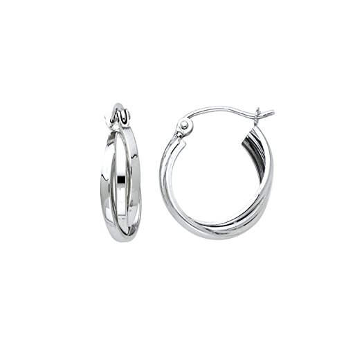 14K White Gold 3 Line Hoop Earrings - (White Gold - 13mm) by Top Gold & Diamond Jewelry