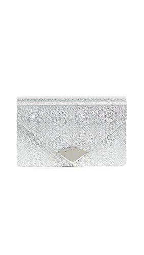 MICHAEL Michael Kors Women's Barbara Metallic Envelope Clutch, Silver, One Size by MICHAEL Michael Kors