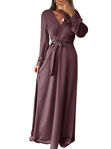 Belt Waist with Bean Neck Women Sleeve Chellysun Dress V Long Maxi Color Dress Casual Empire qA7T8