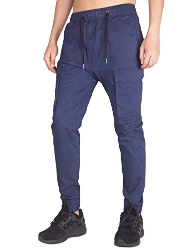 ITALY MORN Men's Jogger Cargo Pants Elastic Waist (Navy Blue, M)