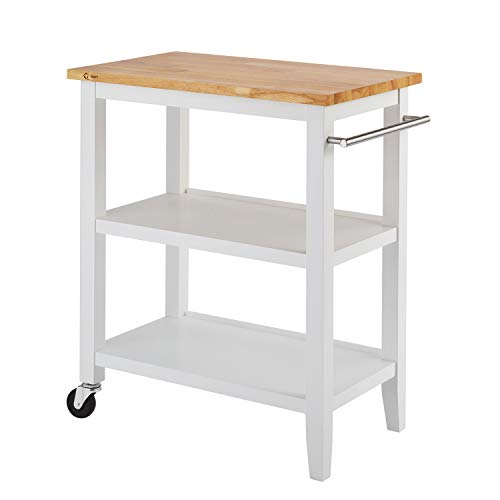 (Simple Interior Kitchen Cart with Wood Top - Multi Storage Sideboard Buffet - Modern Rolling Workstation - Can be use as Console Table Breakfast Bar)