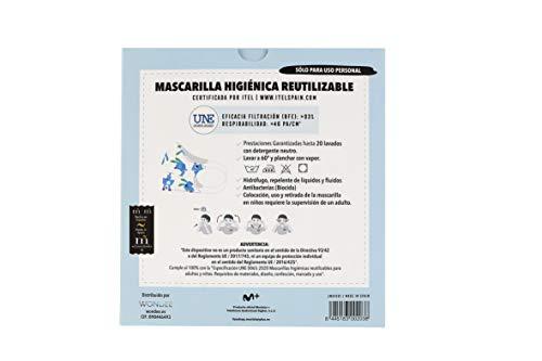 """319HWtuL5mL Mascarilla higiénica reutilizable certificada y homologada con normativa UNE0065:2020. Certificada por ITEL (Instituto Técnico Español de Limpieza). Eficacia de filtración >93% (""""Ensayo BFE"""") y de Respirabilidad >46 Pa/cm2 (Presión diferencial). Tejido hidrofobo y anti bacteriano. Mascarilla compuesta en un 65% algodon, 35% polyester, lavable (hasta 20 lavados a 60 grados con jabon neutro), cómoda y segura"""