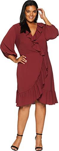 Adrianna Papell Women's Plus Size Pebble Chiffon Faux Wrap Dress Pale Mahogany 18 ()