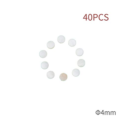 (NAOMI 40 PCS Guitar Dots 4mm White Abalone Fingerboard Dots Inlay for electric Guitar Ukulele Fingerboards)