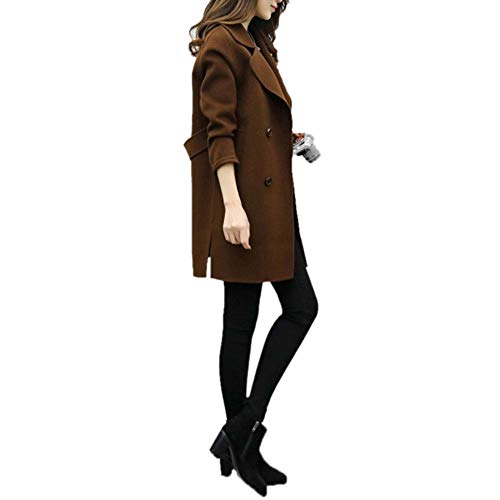 Casuales Cardigan Chaqueta Collar Abrigos down Turn Outwear Larga Coffee Lana Mujeres Otoño De Mujer Solapa Invierno Manga Tjoirej Cálido H9 Slim SqYfUq