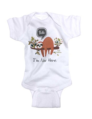 HH Hello I'm New here. Sloth Design Funny Baby Birth Announcement (6 Months Bodysuit, - Handmade Announcements Birth