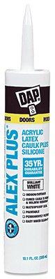 DAP INC 18152 10.1oz White Alex Plus Acrylic Latex Caulk with Silicone - White Acrylic Latex