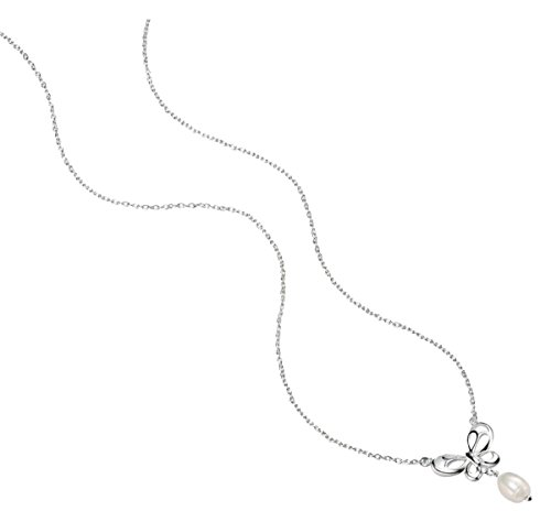 Pearl Jewelry Necklace Element (Elements Silver Womens Freshwater Pearl Butterfly Necklace - Silver/White)