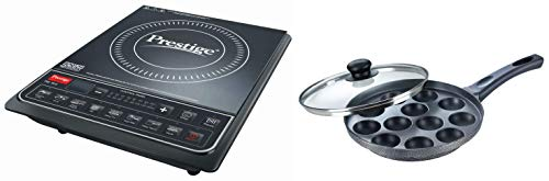 Prestige PIC 16.0+ 1900- Watt Induction Cooktop with Push Button (Black) + Prestige Omega Select Plus Non-Stick Paniyarakkal with Lid (240 mm, Black)- Gas Top Compatible only