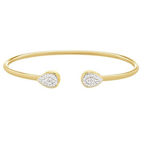Diamond Gold Bangle Yellow (Brilliant Designers 10K Yellow Gold with 0.15 CTTW Diamond (IJ/I2I3) Open Bracelet 6.5