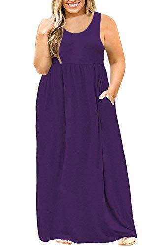 (Yskkt Womens Plus Size Sleeveless Maxi Dresses Tank T Shirt Casual Summer Plain Long Dress with Pockets Purple)