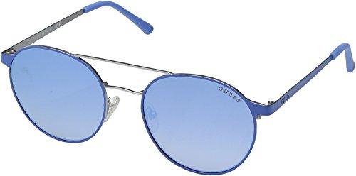 GUESS Gu3023 Round Sunglasses, Light Blue Mirror, 52 (Guess Prescription Sunglasses)