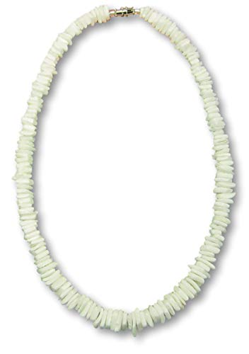 White White Shells Necklace - Native Treasure - 18 inch Good Karma Rugged Surfer Tropical Beach White Rose Clam Chips Puka Shell Necklace