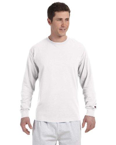 (Champion 5.2 Oz. Long-Sleeve T-Shirt, XL, White)