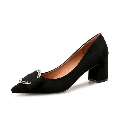 Loafers Schoenen Voor Dames - Metalen Gesp Fashion Slipper Mid-hak Puntig Suède Retro Penny Zwart