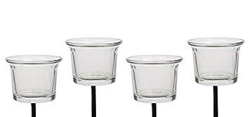 Teelichthalter mit Stecker 4er-SET für Adventskranz Glas Klar 6x10cm ...