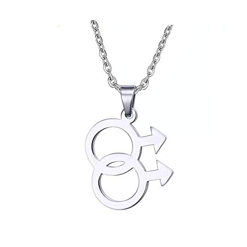 HoBST Stainless Steel Simple Gay Pride Pendant LGBT Symbol Sign Necklace for -