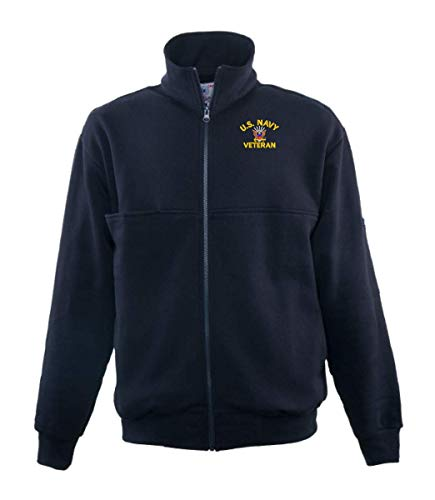 Firefighters Zip Turtleneck - U.S. Navy Emblem Veteran Game Sportswear Firefighter's Full Zip Turtleneck