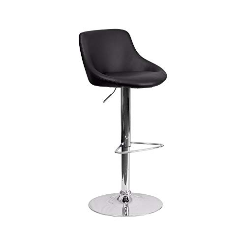 Offex Black Vinyl Bucket Seat Adjustable Height Bar Stool with Chrome Base