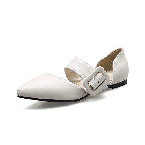 QIN&X La Mujer Toe Sandalias de Tacón Puntiagudo Plano Apricot