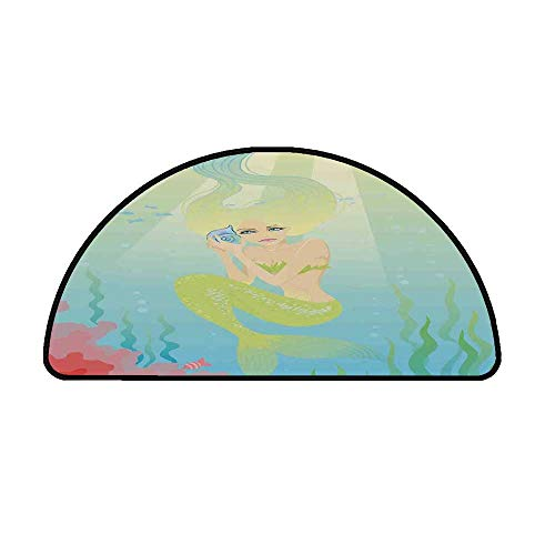 Mermaid Comfortable Semicircle Mat,Soft Pastel Color Unusual Mermaid Fish Girl Listening to Ocean Sound in a Shell for Living Room,25.9