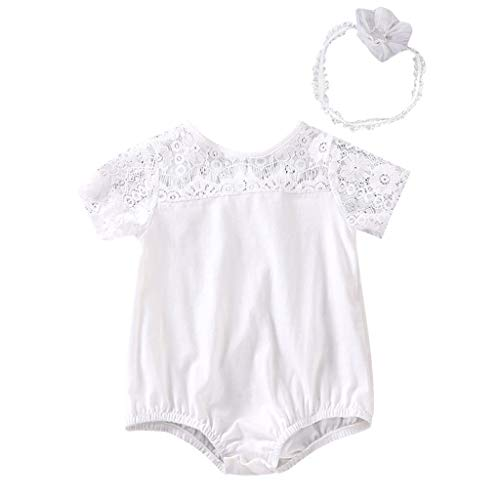 Newborn Baby Girls Romper with Headband Summer Cartoon Swan Tulle Jumpsuit Cotton Soft Short Sleeve Outfits (White, 12/18M)