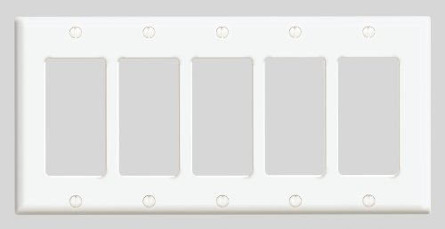 Leviton 80423-W 5-Gang Decora/GFCI Device Decora Wallplate, Standard Size, Thermoset, Device Mount, White