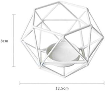 クリスマスキャンドルホルダーミニマリスト幾何金属鉄燭台クリエイティブテーブルホームアクセサリーキャンドルライトディナーウェディングデコレーション、ホワイト