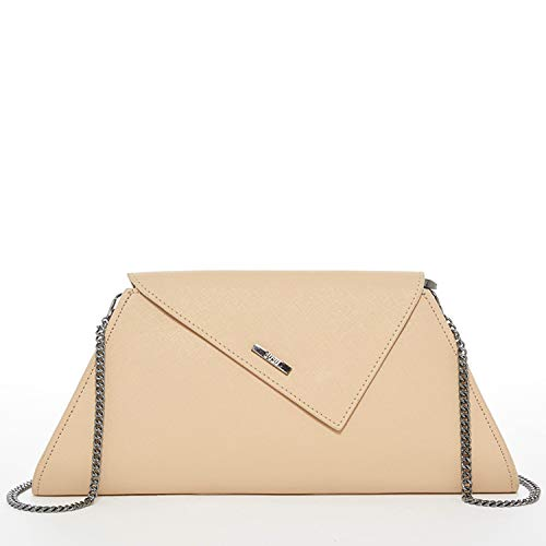 Nude Clutch Purse For Women - Taupe Clutches and Purses Tan Evening Bags Womens Beige Saffiano Leather Cream Neutral Envelope Designer Handbags Cute Crossbody Chain Strap Champagne Chic It Bag ()