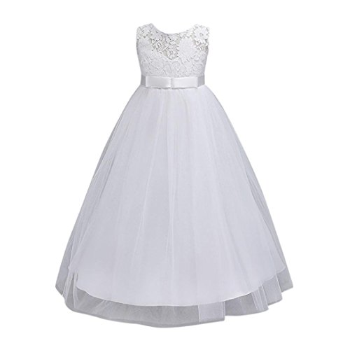 Leedford Classy Wedding Flower Girl Dress Bridesmaid Lace Party Maxi Gown Ruffle Dress Ball Party Prom Tutu Tulle Dress (6T, White) from Leedford