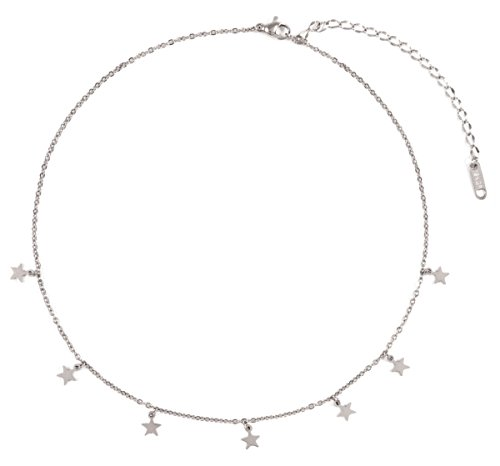 Happiness Boutique Star Pendant Necklace in Silver Color | Delicate Choker Necklace with Small Star Charms Stainless Steel Jewelry Nickel ()