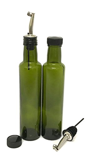 NiceBottles - Olive Oil Dispenser with Stainless Steel Flip Top Pourer, Dark Green, Round, 250ml - Pack of (Olive Oil 250ml Bottle)