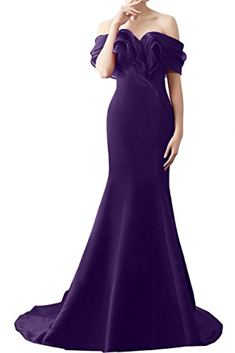 Indigo Satin Bridesmaid Dress (Avril Dress Elegant Wateau off the Shoulder Mermaid Evening Prom Party Dress for)
