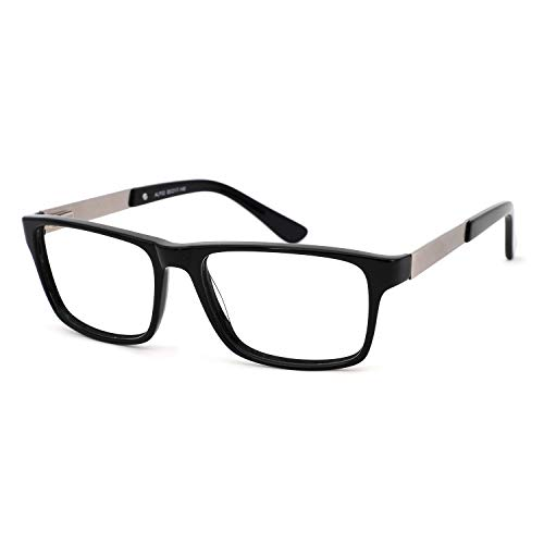- OCCI CHIARI Non-prescription Glasses Eyeglasses Clear Lens Rectangular Optical Frame for Men 55mm (Black)