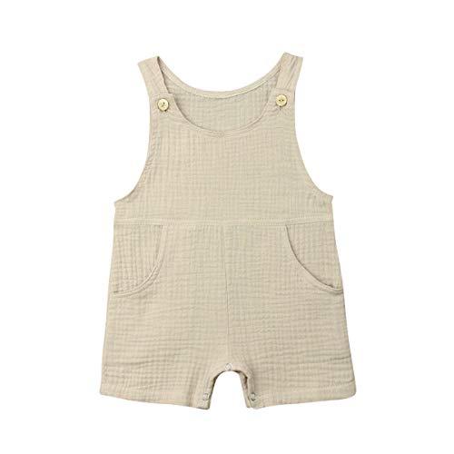 xueliangdedianpu Newborn Toddler Baby Pocket Cotton Seersucker Romper Overalls Jumpsuit Bodysuit Sunsuit Summer Outfits 0-24M (Light Green, 0-6 Months)