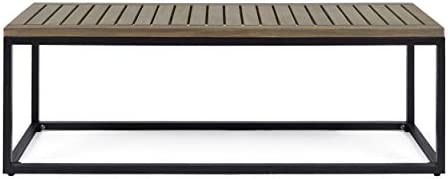 Christopher Knight Home 306429 Drew Outdoor Industrial Acacia Wood and Iron Bench, Gray and Black, Grey Finish Metal