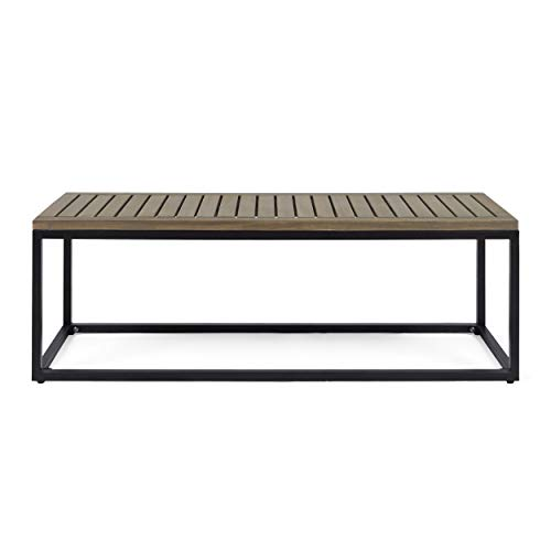 Great Deal Furniture 306429 Drew Outdoor Industrial Acacia Wood and Iron Bench, Gray and Black, Grey Finish Metal (Modern Furniture Metal)