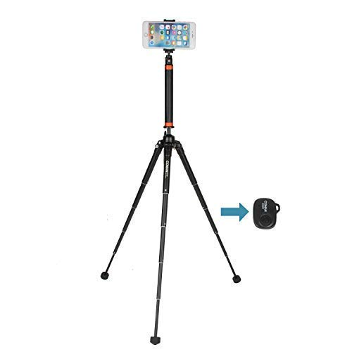 Coman E350MT50 Smart Phone Tripod and Selfie Stick Travel 2in1 with Wireless Bluetooth Remote Control for iPhone,Conan,GoPro,DSLR