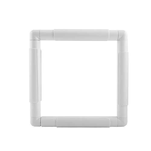 Universal Clip Frame, Square Plastic Embroidery Cross Stitch Frame for Embroidery, Quilting, Cross-Stitch, Needlepoint, Silk-Painting (20.3×20.3cm)