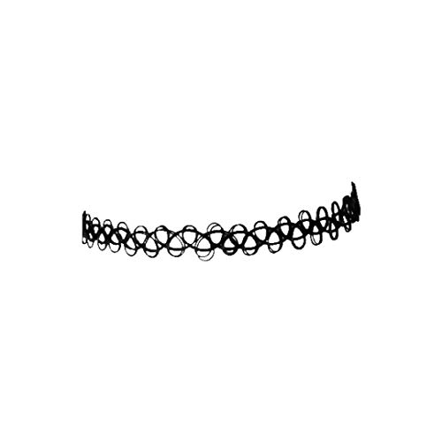 Dressin Necklace for Women,Tattoo Choker Stretch Necklace Black Retro Henna Vintage Elastic BK