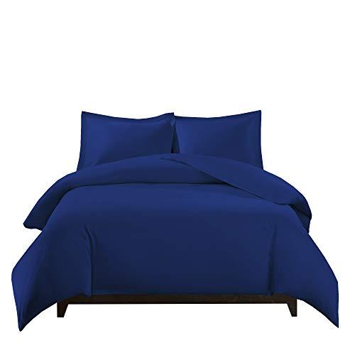 Royal Tradition 100 Percent Bamboo Viscose King/California 3PC Duvet Cover Set, Royal Blue, Super Soft Comforter -
