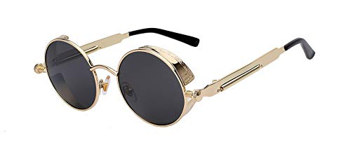 Round Metal Sunglasses Steampunk Men Women Fashion Glasses Brand Designer Retro Vintage Sunglasses Uv400,Gold W Black ()