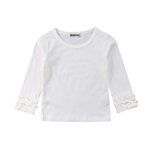 Toddler Baby Girl Basic Plain Ruffle Cuff Long Sleeve Cotton T Shirts Tee Tops (White, 3-4T) ()