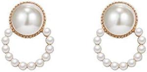 NOBRAND Nuevos aretes de Mujer Salvaje 2020, Agujas Vintage de Mujer en Plata de Ley, Perlas Cortas Joyería Nupcial (Color : E1172 Gold)
