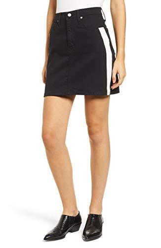 Calvin Klein Women's Denim Mini Jean Skirt, Black/White, 29