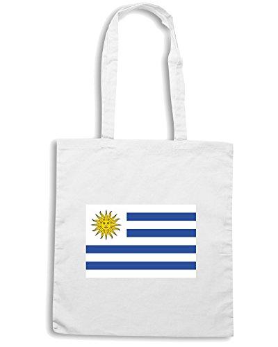 T-Shirtshock - Bolsa para la compra TM0164 Bandera de Uruguay flag Blanco
